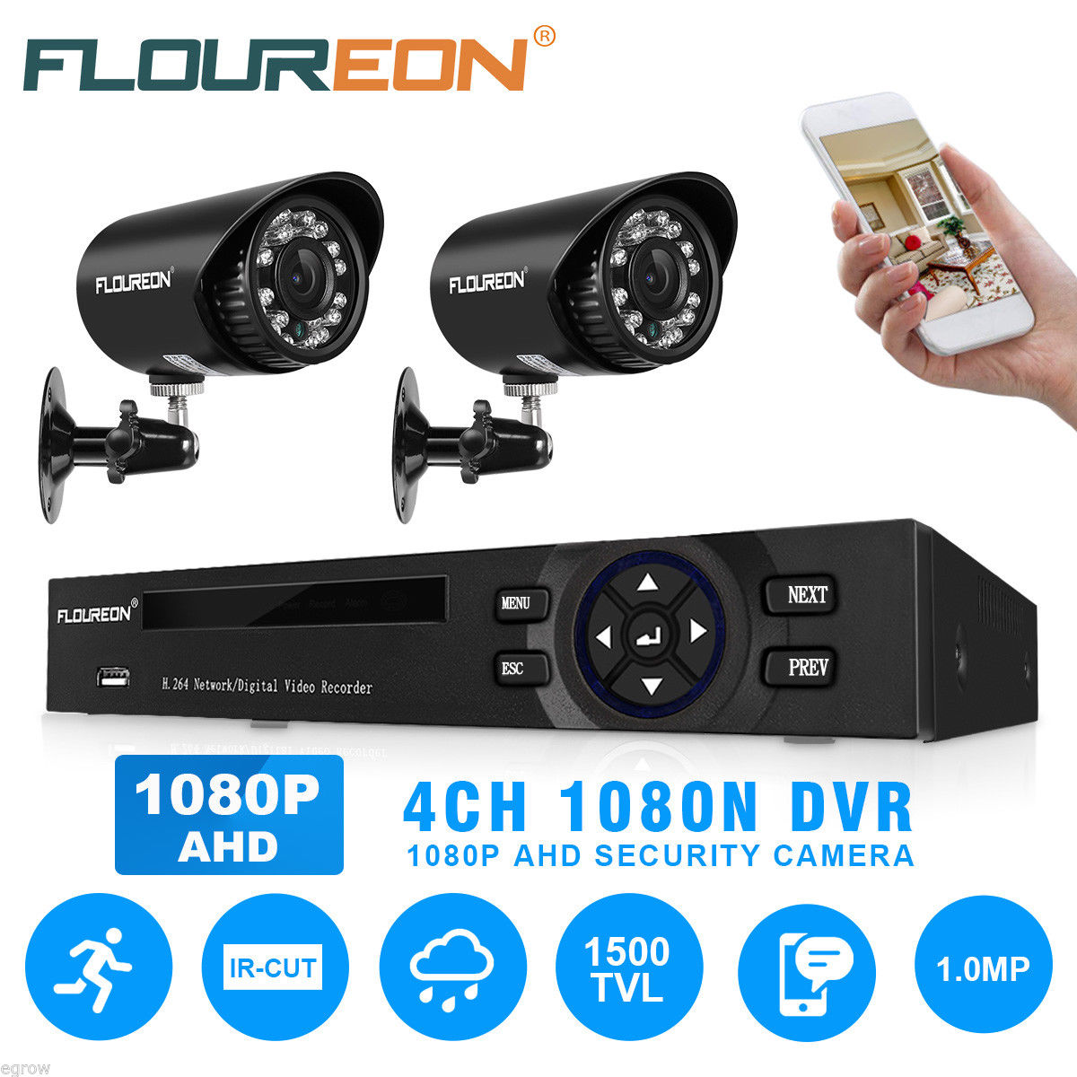 Floureon Smart 1080n 4ch Dvr Cctv Security System 720p Hd