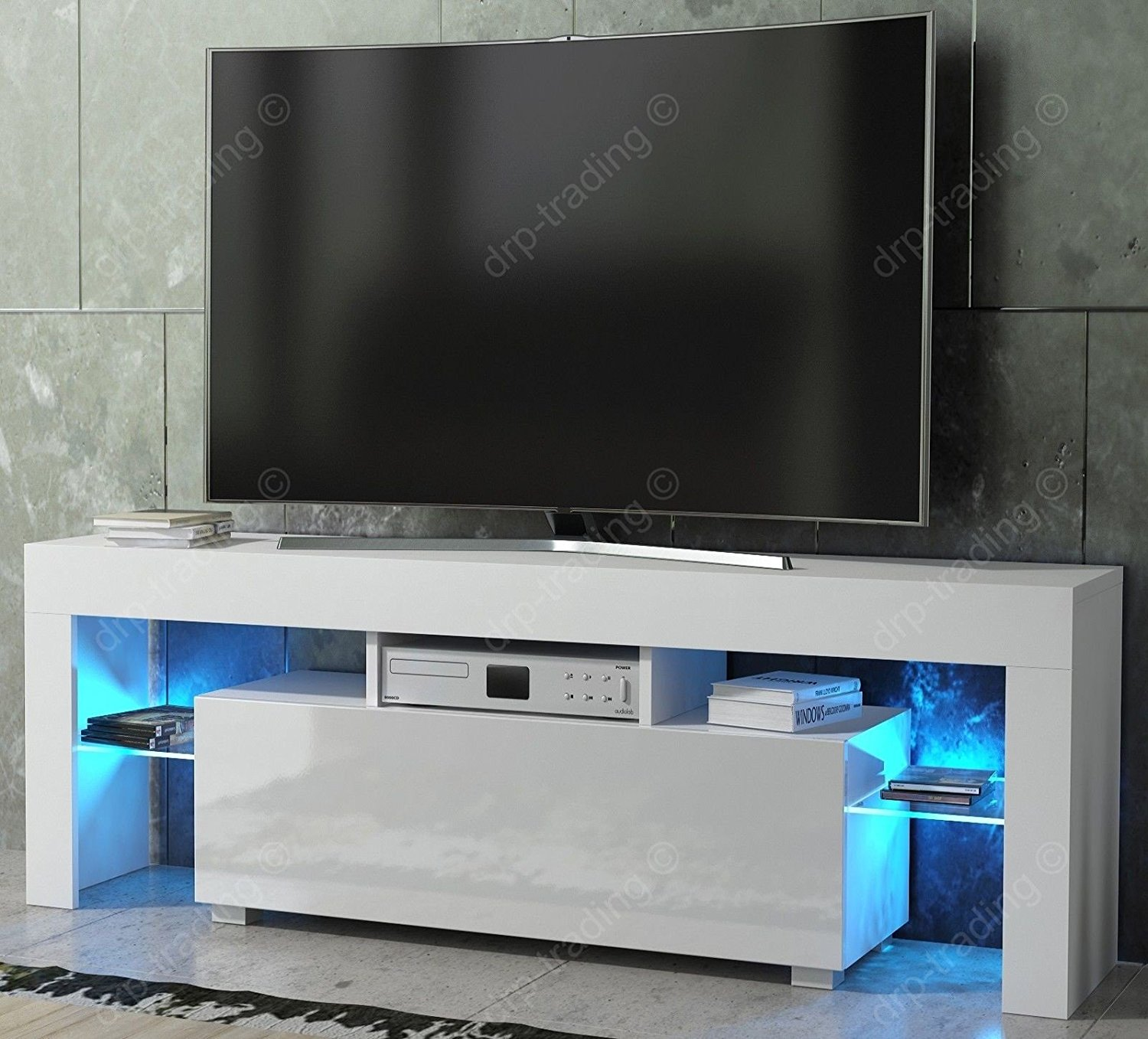 official photos 42b07 0d791 Modern TV Unit 130cm Cabinet White Matt and White High Gloss FREE LED RGB  Lights